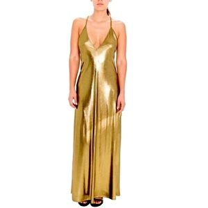 American Apparel Metallic Gold Maxi Dress